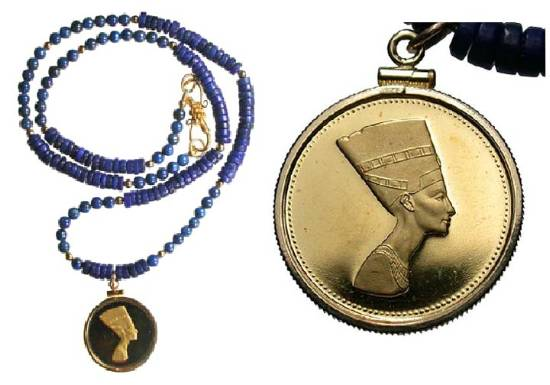 Necklacenefertit gold medal of nefertiti set in lapis necklace description modern gold medal of the beautiful ancient egyptian queen nefertiti set in 14 kt gold pendant and strung with lapis mozeypictures Choice Image